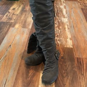 Blowfish Brown Suede Tall Wedge Boots